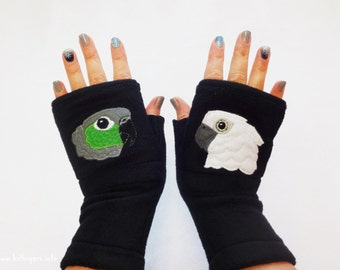 Personalized With Your Parrots Gloves. Custom Fingerless Gloves with Pockets for Parrot Lovers