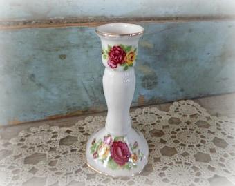 cottage rose candlestick holder / fine bone china candlestick