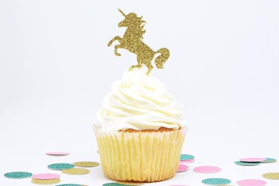 Unicorn Cupcake Toppers - Gold Glitter - First Birthday Decor. Unicorn Party Decor. Birthday. Bachelorette Party. Engagement Party Decor.
