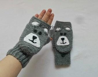 Bear gloves, flapped gloves, mens gloves, mens mittens, bear flapped gloves, crochet knitting animal gloves, gift for him, gift for bff