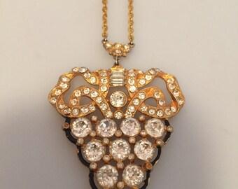 1930s Vintage ART DECO Pendant Necklace RHINESTONE Necklace Gilt and Enamel Bow Design Paste Stones Black Enamel