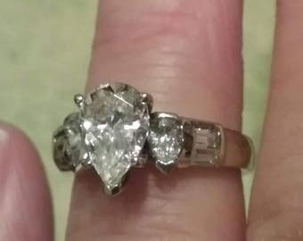 Vintage CZ Pear Shaped Engagement Ring