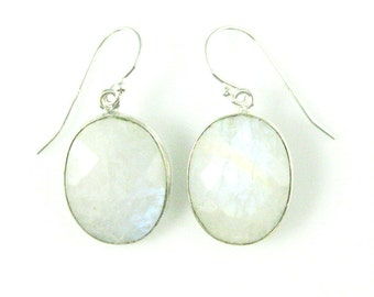 Bezel Gemstone Oval Pendant Earrings -Sterling Silver Bezel Gem and Hooks- Moonstone Earrings -Oval Gemstone Earrings-640112-MST