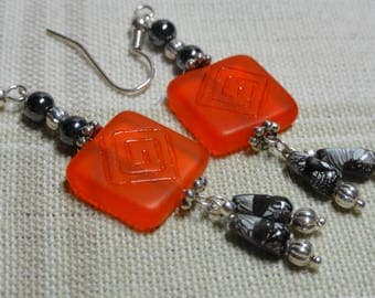 Red and Black Square Glass Earrings