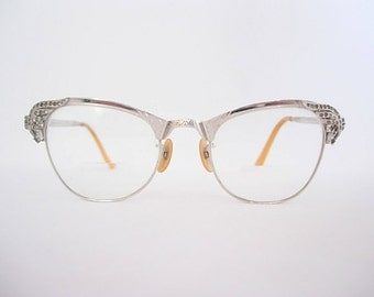 Vintage Ornate Rhinestone Cat Eye Eyeglass Frames Art Deco Nouveau Ornate Silver Tone 1/10 12K GF Similar in Style to Gaspari SMALLER Fit