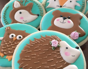 12 Woodland Animal Cookies