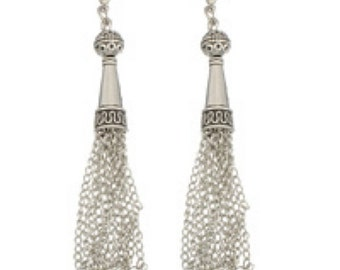 2pc antique silver finish Chain Tassel-7226y