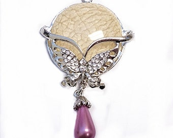1pc  Zinc Alloy Pendant with Glass Pearl & Resin-f11