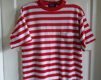 Vintage 80s CANDY CANE Striped T Shirt sz S