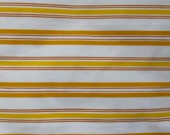 Vintage Sheet Fabric Fat Quarter - Mustard & Yellow Stripe