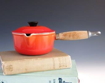 Le Creuset #14 Enameled Cast Iron Pot with Spout and Lid - Creuset France 14 Saucepan - Flame Orange Cast Iron Pot - French Cast Iron Pot