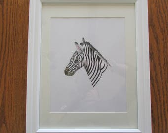 Zebra Watercolor Print for Baby's Nursry