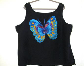 ButterFly Linen Top Upcycled Summer Tank Shirt  Plus SZ 2X 3X