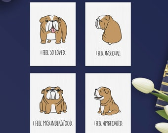 Bulldog Emotions mini cards, empathy, love, feelings, for couples, friends, kids & family, stocking stuffers, gifts for her and him