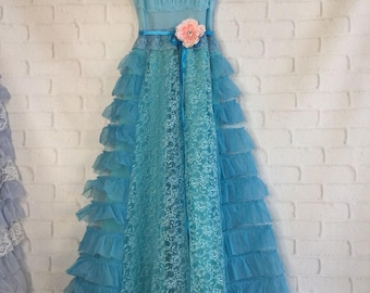 bright aqua tiered lace chiffon boho wedding dress by mermaid miss Kristin