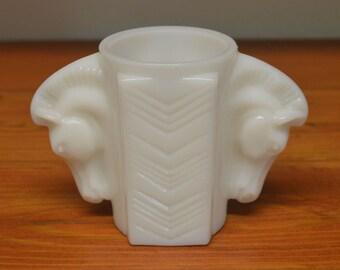 Vintage MacBeth Evans horse head vase milk glass vase