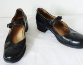 Vtg 90s GRUNGE Leather MARY JANES by Aldo, Made in Italy, Size 41, 10, 9.5