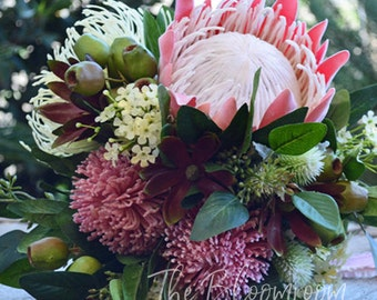 Silk bouquet, Native bouquet, Australian native, Bridal bouquet, Wedding flowers, Native flowers, King Protea bouquet, Victoria bouquet