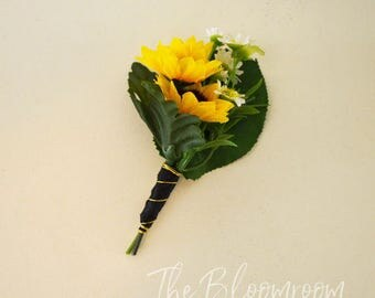 Country style boutonniere / Garden boutonniere / Wedding boutonniere / Boutonniere / Silk boutonniere / Wedding buttonhole / Groom