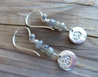 Ohm Sterling Silver Dainty Labradorite Yoga Earrings Zen Jewelry Yoga Jewelry Ohm Jewelry