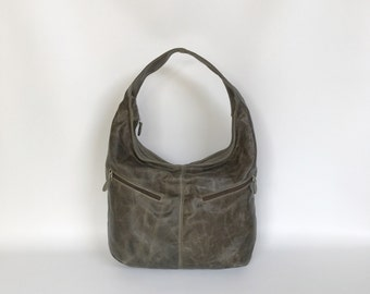Green Distressed Leather Hobo Purse Bag with Pockets, Women Handbag, Fashion Casual Bags, Aly