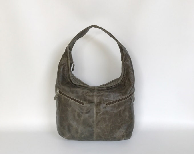Featured listing image: Green Distressed Leather Hobo Purse Bag with Pockets, Women Handbag, Fashion Casual Bags, Aly
