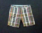 "Vintage POLO by Ralph Lauren SLIM FIT 100% Cotton Authentic Indian Madras Shorts Size 34"".  Made in Vietnam."
