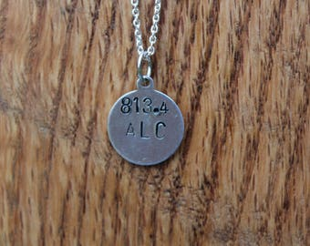 813.4 ALC - Louisa May Alcott Dewey Decimel Metal Stamped necklace