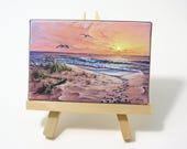 2.5x3.75 Ocean Sunrise Mini Painting by J. Mandrick