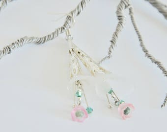 Silver White Lucite Lily Drop Earrings