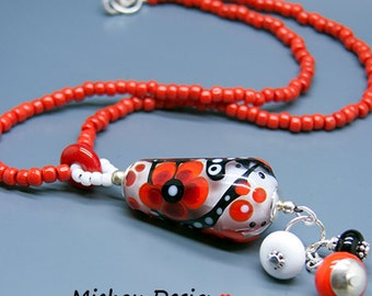 Michou Pascale Anderson *Rosy* Necklace - Lampwork  Pendant - Sterling Silver, Toho glass seeds