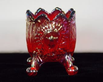 1970's Guernsey Red Carnival Glass Saratoga Indian Footed Toothpick Holder by Harold Bennett, Native American Indian & Crossed Tomahawks - K