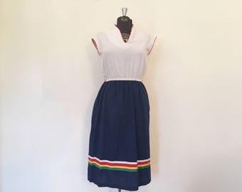 Vintage 1980's Dress / Medium / Rainbow Bright