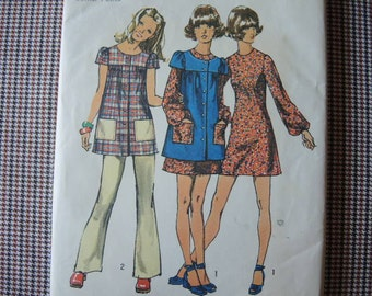 vintage 1970s simplicity sewing pattern 9834 junior petite mini dress smock and pants size 9jp