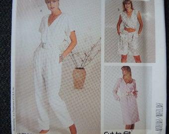 vintage 1980s McCalls sewing pattern 2919 misses dress and jumpsuit size 12-14-16 UNCUT