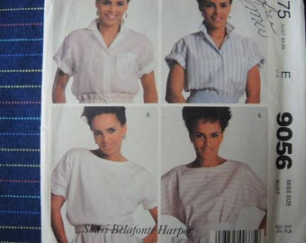 vintage 1980s McCalls sewing pattern 9056 misses blouse and top size 12