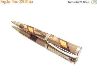 Bethlehem Olive Wood Pen - 24kt Gold Metal Finish