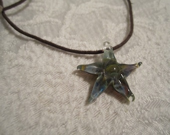 Art glass Star pendant necklace, statement necklace