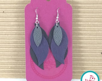 Metallic Charcoal, Purple and Black Layered Leather Earrings
