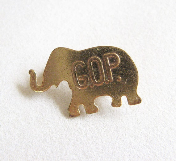 Vintage 1950's GOP Elephant Lapel Pin Republican Political Memorabilia Metal Pin