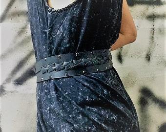 Double Layered Belt with Rhinestones Studs - Genuine Leather Belt - Handmade leather belt