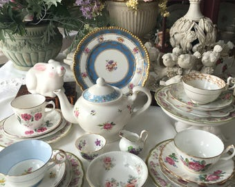 English Tea Set for 4 English Mismatched Tea Set 21 Pieces Pink Roses Tea Set Alice in Wonderland Tea Set