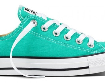 Converse Low Top Menta Mint Green Turquoise Teal Custom Bridal Wedding w/ Swarovski Bling Rhinestone Chuck Taylor All Star Sneaker Shoe