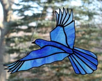 Bluebird Stained Glass Bird Large Suncatcher, Glass Art