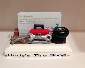 Custom business card holder Designed for a Tire repair shop,custom, handmade,polymer clay,business card holder