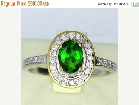 Last Chance Sale Tsavorite Green Garnet & Diamonds 14K 2Tone Gold Ring (1.3ct tw) : sku 396-14K