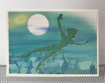 PETER PAN Greeting Card Tinker Bell Glitter repurposed Book page notecard tinkerbell