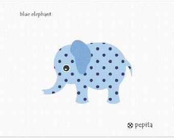 Needlepoint Kit or Canvas: Blue Elephant