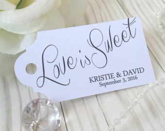 Love is Sweet Script Tag - Wedding Favor Thank You Tags - Personalized - Bridal Shower - Baby Shower - Custom Quantities  Available WT-005