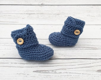 crochet baby booties | blue baby bootees | baby boy boots | blue baby shoes | baby reveal | baby gift